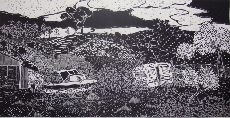Loique Allain, Bull Creek Rd, lino cut, 2013