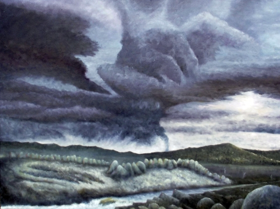 Approaching Storm (Snowy River), 2014, Oil on Poly Cotton, 76x102cm, $3800withtone
