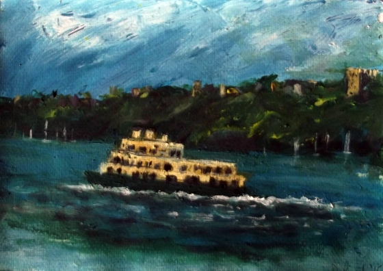 Mosman Bay Ferry 2015 Acrylic on Paper 21x30cm(Unframed) $100withtone