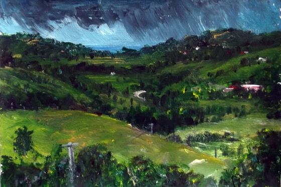 Towards Kingscliff from Murwillumbah(Study), April 2015, Acrylic on paper, 21x30cm, (Unframed), $100_tone